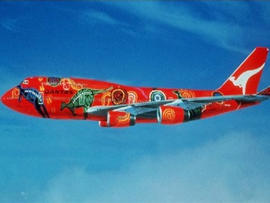 Qantas's famous aboriginal art-style plane