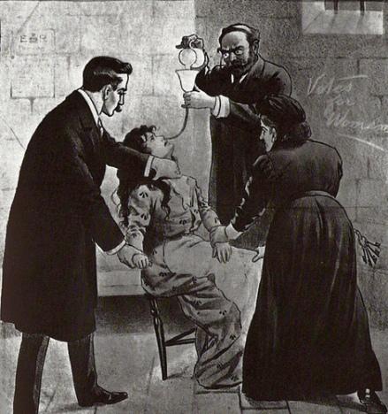 Force feeding Suffragette in Prison