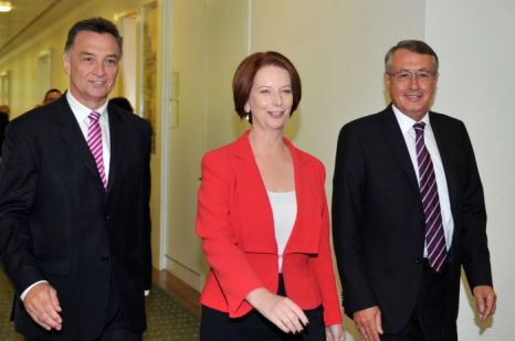 All smiles - Gillard leaves the caucus meeting.