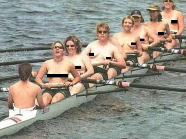 A row of breasts