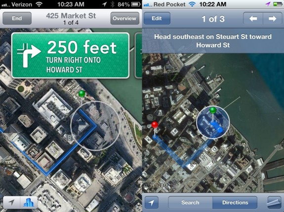 Apple Maps Navigation iOS 6 vs iOS