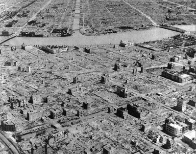 """We know all about the atomic attackjs on Hiroshima and Nagasaki. Far worse was the """"firestorm"""" attack on Tokyo using incendiary bombs. The Strategic Bombing Survey estimated that 87,793 people died in the raid, 40,918 were injured, and 1,008,005 people lost their homes. Robert Rhodes, estimating the dead at more than 100,000 men, women and children, suggested that probably a million more were injured and another million were left homeless. American planners estimated the areas attacked to be 84.7 percent residential."""