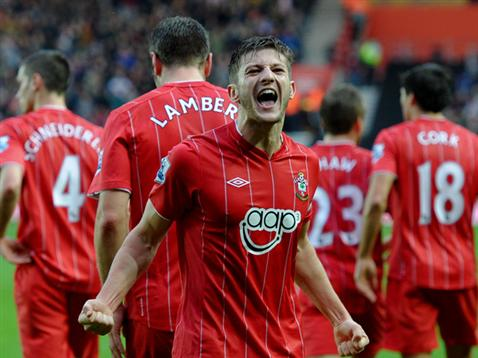 Adam Lallana celebrates scoring against rock-bottom Reading on Saturday, flanked by four of Saints most improved players this season. But which three teams will fill the bottom spots come the end? Photo: saintsfc.co.uk
