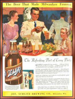 "This ad was printed in 1937.  The fancy bottle was the ""Steinie.""  It was specially made this way so it easy to handle and didn't take up space in the fridge or icebox. In an interesting bit of trivia (and according to another Schlitz print ad), the Joseph Schlitz Brewing Company pioneered the idea of bottling its beer in brown bottles.  This was done to keep unwanted light out and keep the freshness of the beer in. The good old days when ""a truth well told"" was at the core of advertising."