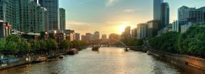 Tha Yarra River at dusk, Melbourne, Vic