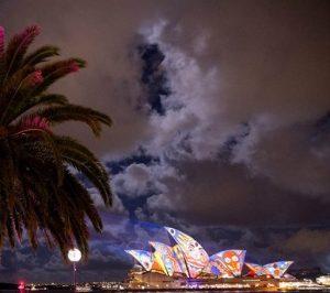 Light show plays on the Sydney Opera House, NSW
