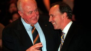 "When ""intellectual"" wasn't a dirty word. Whitlam and Keating share a joke."