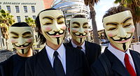 Anonymous activists often appear in public wearing Guy Fawkes masks