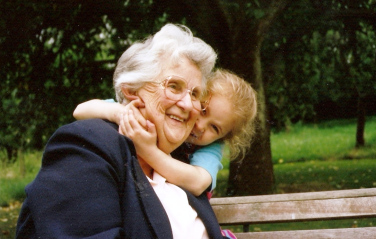 I love this photo of Mum and Caitlin, taken in her garden when Mum was about 80: to me it captures the joy of the span of a family
