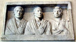 A frieze of freed Roman slaves: such Freedmen could achieve high status within Roman society, but were not considered of the same social status are free-born Romans.