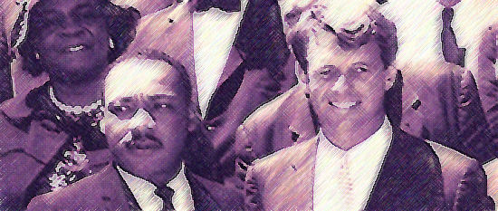 Martin Luther King and Robert Kennedy informed each other, thrown together by history. When King was shot, Kennedy's respectful oration has been credited with preventing America's cities descending into social turmoil.