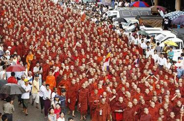 People power in action. Hundreds of Buddhist monks lead a protest in Myanmar/Burma in 2007.