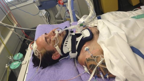 King hit victim Matt Pridham in Canberra Hospital, now trying to recover from brain injury. This photo was volunteered by his family in early December 2013 (Canberra Times)