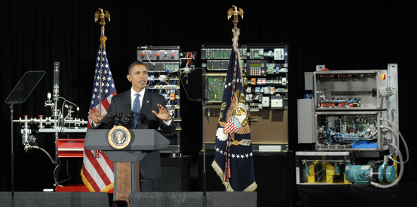President Barack Obama delivers a speech on innovation at Hudson Valley Community College in Troy, N.Y. But America needs to move beyond fine words and onto a national effort.