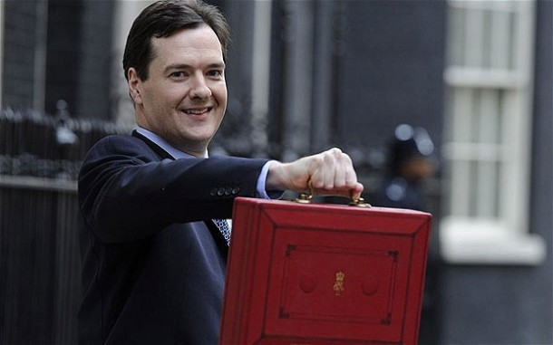 George Osborne and his despatch box containing the Budget