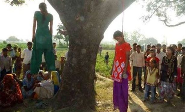 The two girls, probably aged 12 and 14, were gang raped when they went into the fields to go to the toilet, as many poor people in India are obliged to do. After being raped they were then hung from a tree by their own scarves. Pathology reports say they were alive when hanged.