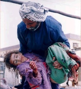 A victim of US bombing in Iraq.
