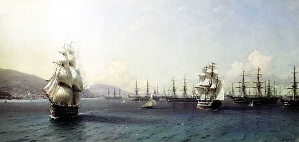 The Russian Black Sea Fleet had been in Sevastopol for a long time. This painting by Alvazovsky pre-dates the Crimean War.