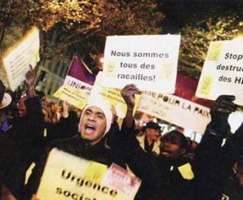 "Recent riots in France were painted as ""Islamic"" by commentators, in fact, as the placard being carried by one demonstrator, it was more accurately an explosion of frustrated youth violence, like previous riots in the UK and elsewhere."