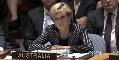 "Is there any question Bishop sees this as her chance to leap Malcom Turnbull and become Abbott's obvious replacement? We think not. Mind you, if we could win wars just with her ""death stare"", we'd be home and hosed. She scares the hell out of us, wonder what she does to IS?"