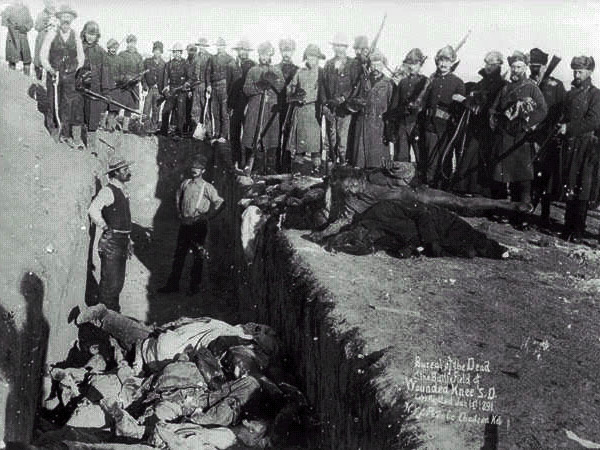 The mass grave on Wounded Knee Hill