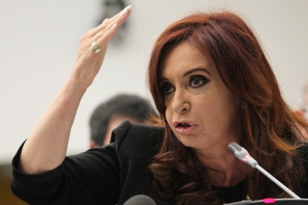 Argentina's President Cristina Fernandez de Kirchner speaks during a meeting at the United Nations headquarters in New York on the disputed Falkland Islands on the 30th anniversary of the end of war between the Britain and Argentina, on June 14, 2012.
