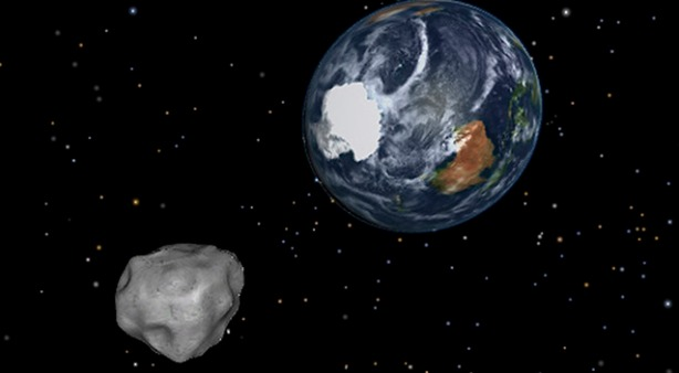This image provided by NASA/JPL-Caltech shows a simulation of asteroid 2012 DA14 approaching from the south as it passes through the Earth-moon system on Friday, Feb. 15, 2013. The 150-foot object will pass within 17,000 miles of the Earth. NASA scientists insist there is absolutely no chance of a collision as it passes. But next time? (AP Photo/NASA/JPL-Caltech)