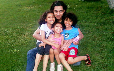 Raif and his children in happier times: one can hardly imagine how his family are suffering.