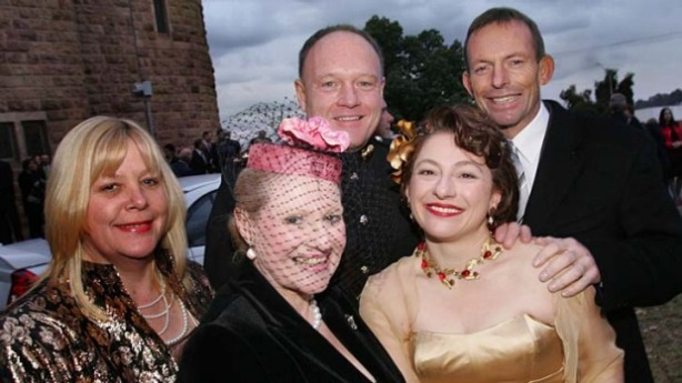 Tony Abbott at the wedding of Sophie and Gregory Mirabella, at Holy Trinity Anglican Church in Wangaratta in 2006, alongside Bronwyn Bishop and another wedding guest. Photo: Rebecca Hallas
