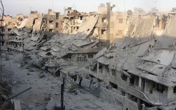 Destroyed buildings in Syria's besieged central city of Homs following shelling during fighting between government and opposition forces.