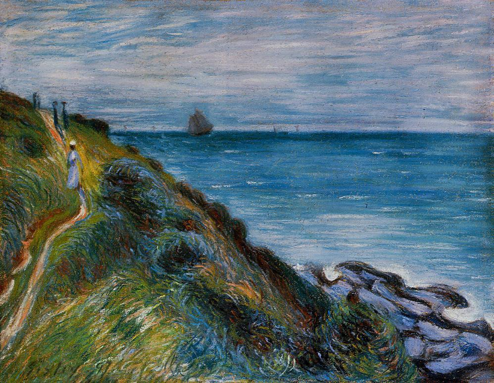 """Siseley's painting, """"On the cliffs, Langland Bay"""". I have walked that very path a thousand times, at the top of which was my Aunt and Uncle's home, Kylemore."""