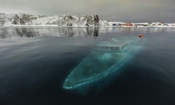Sunken yacht, Antarctica