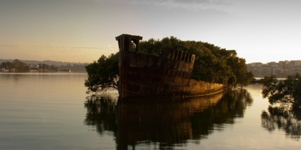 The remains of the SS Ayrfield in Homebush Bay, Sydney, Australia