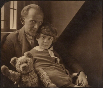 A.A.Milne with his son Christopher Robin Milne and Pooh Bear - photograph: Howard Coster