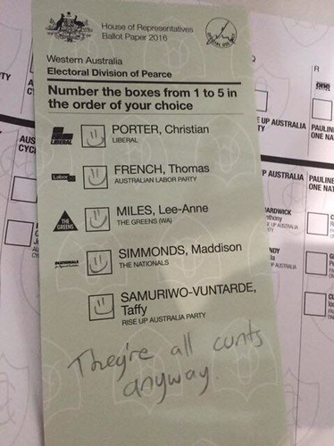 Australia well this is what i think people spoil their ballot papers all over the world only in australia is it this funny and this bang on the money solutioingenieria Images