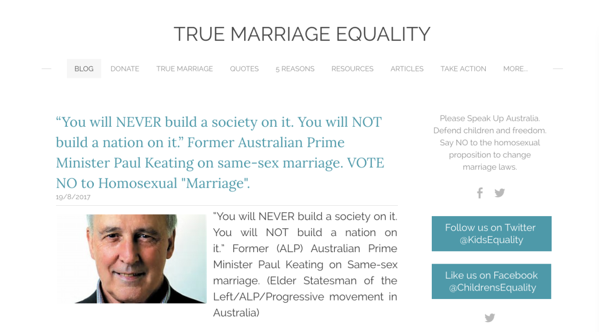 "The basic dishonesty of the ""No"" campaign on #marriageequality exposed. Again."